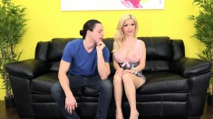 Hot blonde gets her instructions to bang this guy on live webcam
