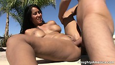 Sexy brunette slut gets shafted balls deep by the side of the pool