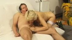 Lovely blonde granny in white stockings gets fucked like she deserves