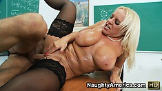 Alexis Golden gets her oily tits slapped about by a mean prick