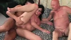 Old and young dudes bang this chick in the ass and pee on her