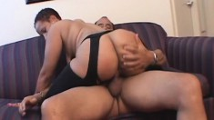 Luscious ebony woman in black stockings gets nailed by a white stud
