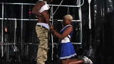 Blonde ebony cheerleader eats his meat and gets tapped from behind