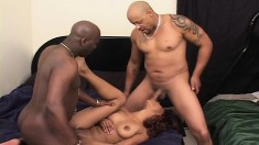 Two black guys giving a nasty ebony chick the hard fucking she desires