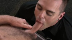Inked hunk indulges in some naughty gay action with his lover