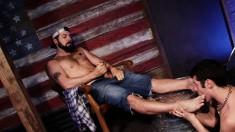 Gay twink licks his gay bear lover's feet and gets a foot job