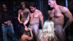 Trashy babes take on a gang of raging dicks and get covered in semen