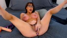 Busty nerd MILF Homemade Nude Fun Video