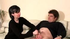 Mature femdom gloved handjob