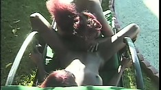 Two exciting ebony lesbians take each other's wet pussies to climax by the pool
