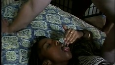 Slender ebony babe gets her tight slit penetrated by two insatiable hunks