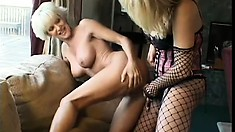 Hot lesbian bitches go to town on each other's mature pussies