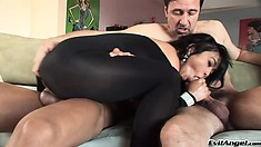 She's trapped in her bodysuit, but her pussy and ass aren't and these guys take full advantage