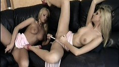 Petite lesbian couple brings out a big toy to fuck each other