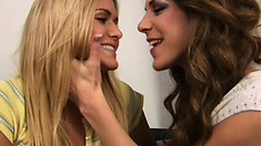 Kayla gets her sweet cunt licked by hot MILF for the first time