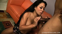 Asian hottie with big tits and a fabulous ass Kayme Kai gets fucked by a black stud