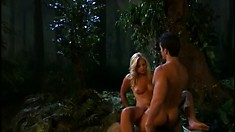 Attractive blonde with perky tits enjoys a deep fucking in the forest