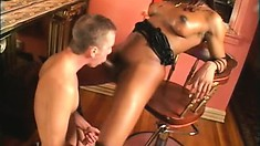 Kim uses her big black tranny tool to ream some tight man ass