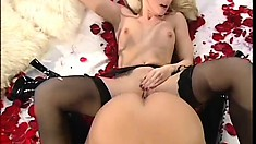 Blonde lesbians lick pussy and do sixty-nine, then use a double sided dildo