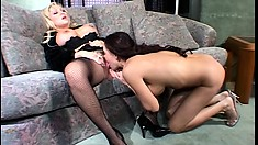 Curvacious blonde MILF entertains her skinny brunette girlfriend with sex toys