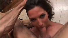 Devious female in orange shirt Samantha Roxx has her cunny stretched