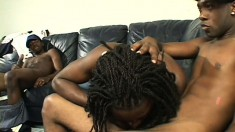 Three handsome black dudes explore their sexuality on the couch