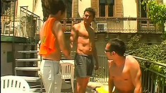 Italian dudes get down to make some hot anal love in steamy threesome