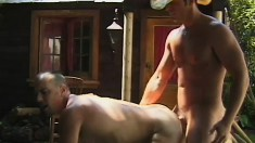 Passionate cowboy lovers enjoy some steamy fun in a soapy bath